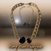 Curb N Pearl(BLACK) Chain Gold [rx]