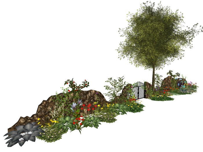 MSD - Stone Courtyard Garden - Walls & Gate (43LI) C/M