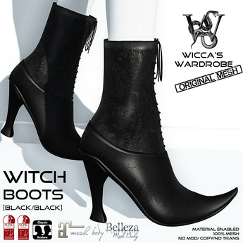 Wicca's Wardrobe - Witch Boots [Black/Black] [BOXED]