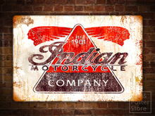 INDIAN MOTORCYCLE COMPANY Antique Rusty Metal Sign Garage Poster