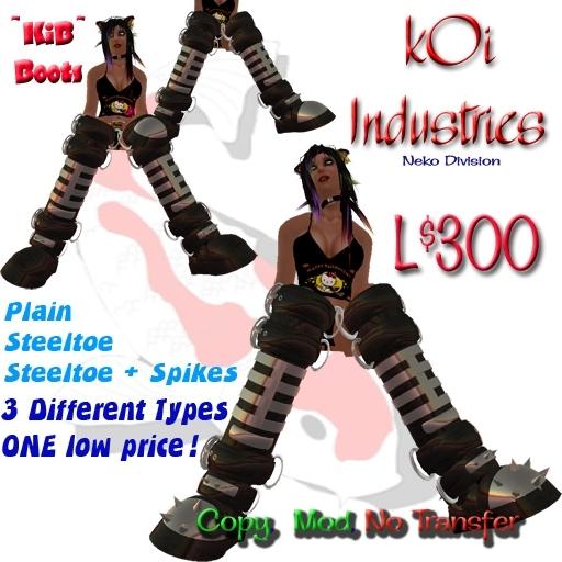 ~kIB~ kOi Steeltoe/Black/Spikes 3 Pack Boots