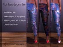 GIVORIA - Overall Mesh - Rainbow Jeans Set (Maitreya Pants, Slink Pants, Belleza Pants, Clothing)