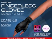 GRAVES Fingerless Gloves - Black/Short + inclusive Omega, TMP appliers