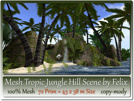Mesh Tropic Jungle Hill Scene 72 Prim=43x38m Size copy-mody