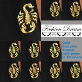 Gold Scorpion Brooch 10 Gem colors - Fashion Dream Accessories
