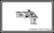 LED Sunrise Silver Corner Office Desk (Small Version) Boxed