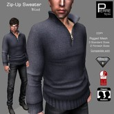 SWEATER with ZIP BLUE: Classic, AESTHETIC, SLINK