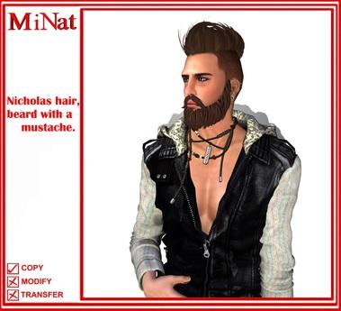 MN Nicholas hair, beard with a mustache.