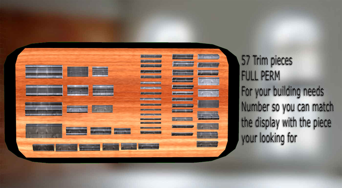 57 Mesh Trim & baseboard pieces Full Perm