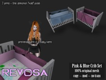 REVOSA Baby Crib [Pink & Blue Set] w/ animation