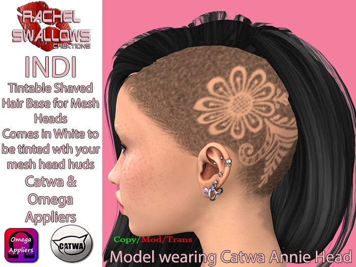 RSC SHAVED HAIR BASE APPLIER INDI OMEGA & CATWA BOM