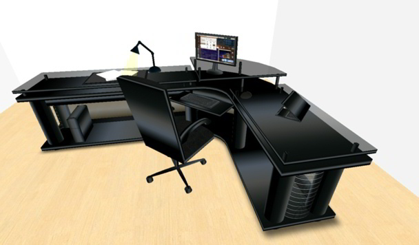 LED Midnight Black Corner Office Desk (Small Version) Boxed