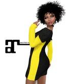 XK Maitreya Off Shoulder Dress Color Block Dress Yellow