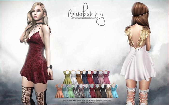 Blueberry - Scarlet Angel Wings Dress - Maitreya, TMP, Belleza (All), Slink Physique Hourglass - ( Mesh ) Fat Pack