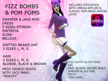 Free Gift - FIZZ BOMBS & POM POMS- Full Mesh Outfit, Includes All Alpha Layers For Non Mesh Avatars- FREE GIFT