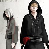 tomoto, hoodie kimono black