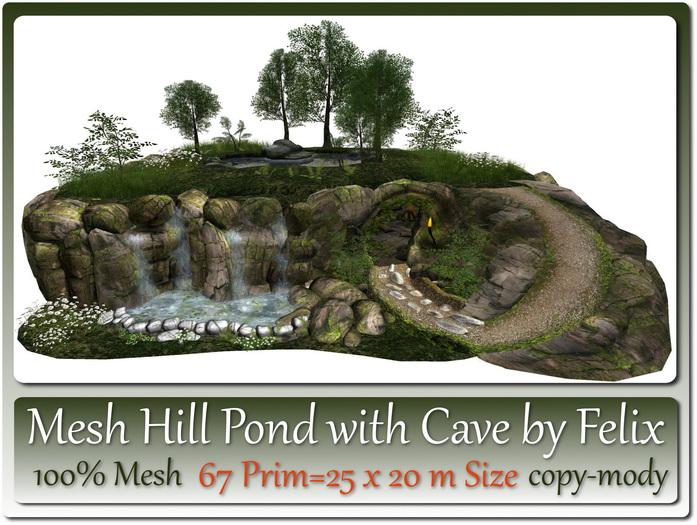 Mesh Hill Pond with Cave 67 Prim=25x20m Size copy-mody