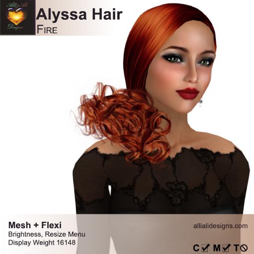 A&A Alyssa Hair Fire. Medium womens mesh and flexi hairstyle. FUNCTIONAL DEMO