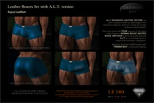 Leather Boxers - Aquamarine - with ADVANCED LIGHTING TEXTURE version