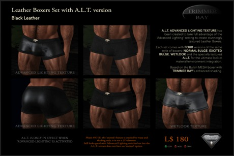Leather Boxers - Black - with ADVANCED LIGHTING TEXTURE version