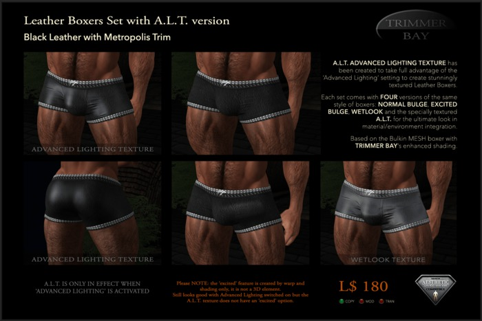 Leather Boxers - Black with Metropolis Trim - with ADVANCED LIGHTING TEXTURE version