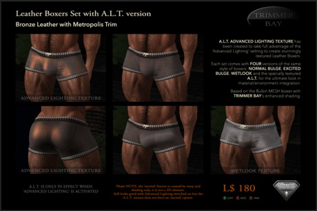 Leather Boxers - Bronze with Metropolis Trim - with ADVANCED LIGHTING TEXTURE version