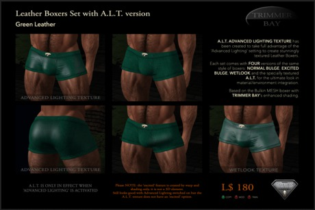 Leather Boxers - Green - with ADVANCED LIGHTING TEXTURE version