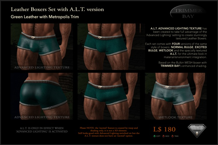 Leather Boxers - Bottle Green with Metropolis Trim - with ADVANCED LIGHTING TEXTURE version