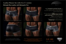 Leather Boxers - Midnight Blue with Metropolis Trim - with ADVANCED LIGHTING TEXTURE version