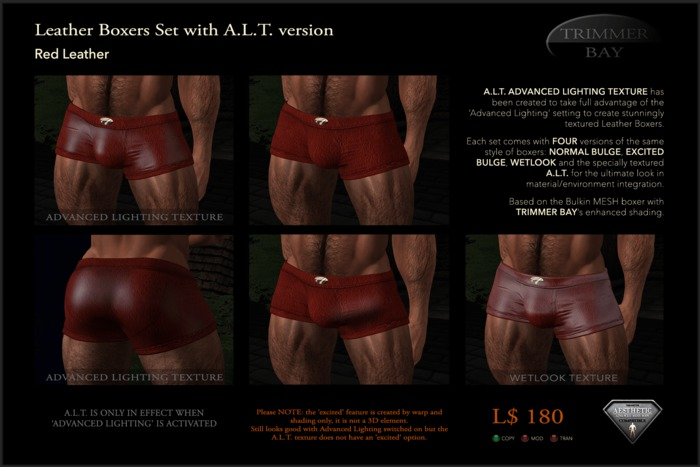 Leather Boxers - Red - with ADVANCED LIGHTING TEXTURE version