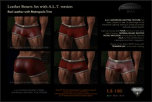 Leather Boxers - Red with Metropolis Trim - with ADVANCED LIGHTING TEXTURE version
