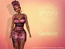 Artizana - Sankolo (Blush) - Mesh Dress + Headwrap