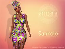 Artizana - Sankolo (Magentreuse) - Mesh Dress + Headwrap