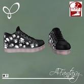 Afantasy FLAT SLINK Black & White Skull Goth Sneakers