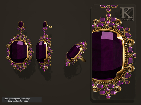 (Kunglers) Aphrodite earrings and ring - Amethyst