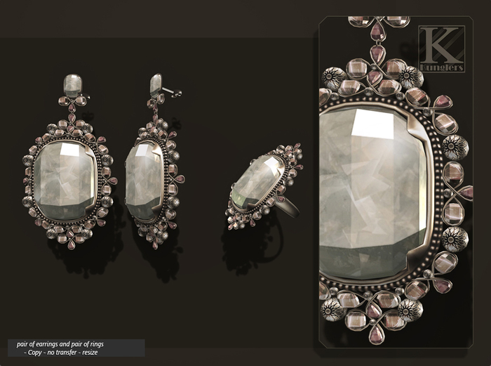 (Kunglers) Aphrodite earrings and ring - Crystal