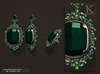 (Kunglers) Aphrodite earrings and ring - Emerald