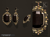 (Kunglers) Aphrodite earrings and ring - Obsidian