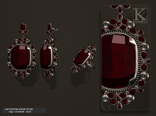 (Kunglers) Aphrodite earrings and ring - Ruby