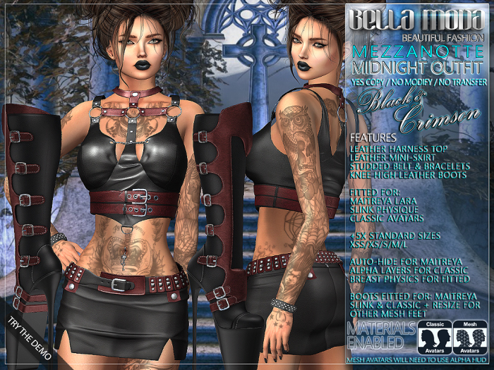 Bella Moda: Mezzanotte Midnight Black & Crimson Outfit - Fitted for Maitreya/Physique/Classic + 5x Std Sizes - FULL