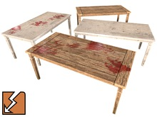 Simple Rustic Mesh Table (large) - weathered and bloody