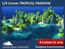 Off-sim 1/4 Sim Corner Landscape TROPICAL PARADISE, off-sim rocks, waterfalls, islands, palm forrest, mountains, beaches