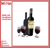 MiNat Bottle and two glasses of red wine