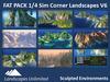 Off-sim 1/4 Sim Corner Landscapes FAT PACK, off-sim waterfalls, rocks, mountains, islands, forrests, hills