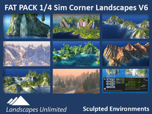 Off-sim 1/4 Sim Corner Landscapes FAT PACK, off-sim waterfalls, rocks, mountains, islands, forrests, hills