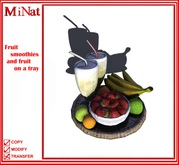 MiNat Fruit smoothies and fruit on a tray