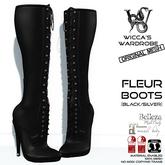 Wicca's Wardrobe - Fleur Boots [Black/Silver] [BOXED]