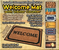 Welcome Mat with Visitor Counter - Notecard Give, Landmark Giver, and so Much More