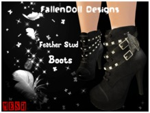FallenDoll Leather Stud High Heel Boots