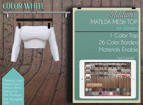 "Addams ""Matilda"" Womens Mesh Top -Maitreya,Belleza,Tmp,Slink Top- White"